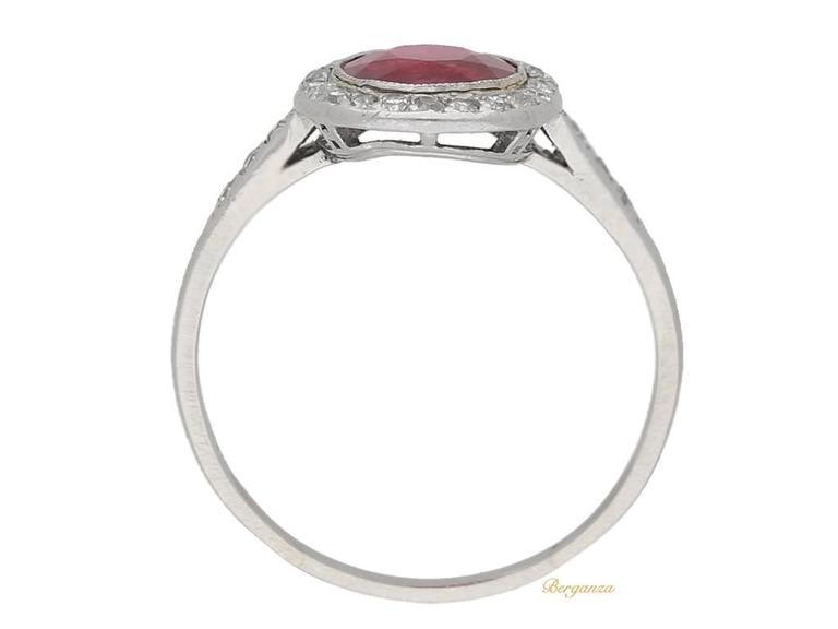 1920s Boucheron Natural Burmese ruby diamond platinum cluster ring  3
