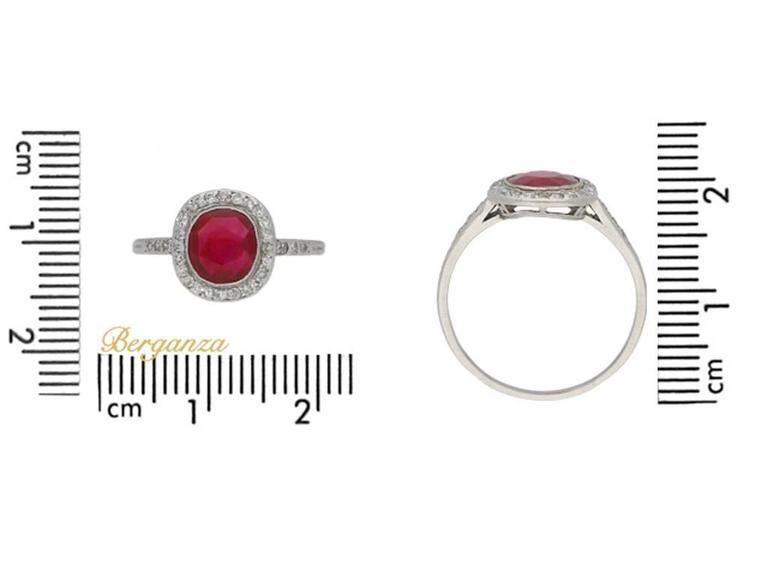 1920s Boucheron Natural Burmese ruby diamond platinum cluster ring  4
