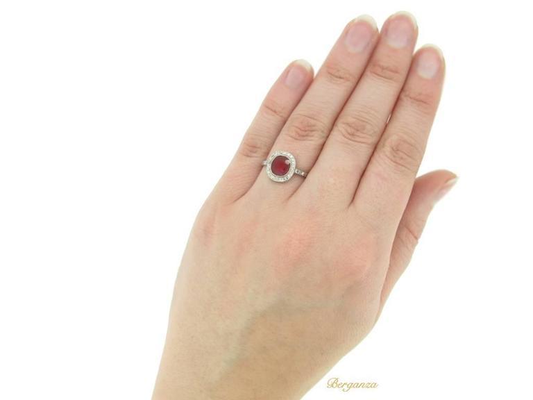 1920s Boucheron Natural Burmese ruby diamond platinum cluster ring  5