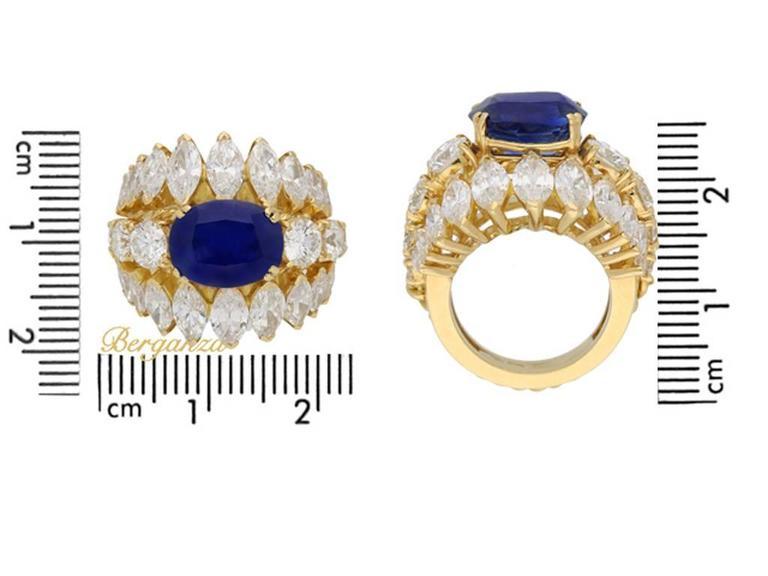 Women's 1960s Natural unenhanced Burmese sapphire diamond gold ring For Sale