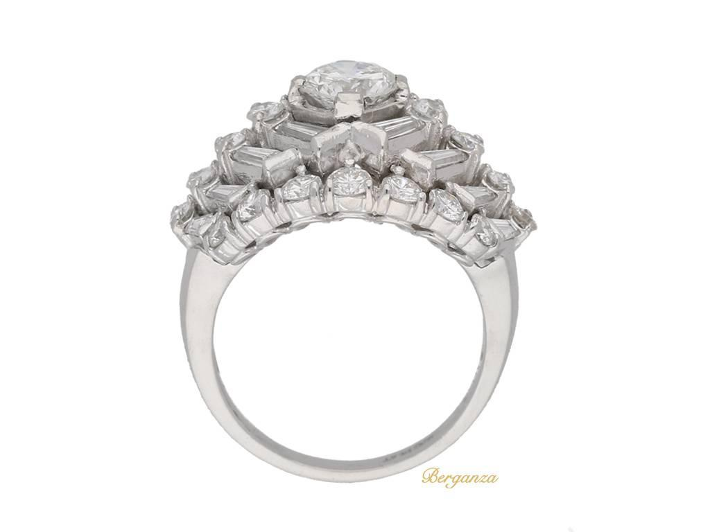 1960s Oscar Heyman Bros Diamond Platinum Cluster Ring For Sale at 1stdibs