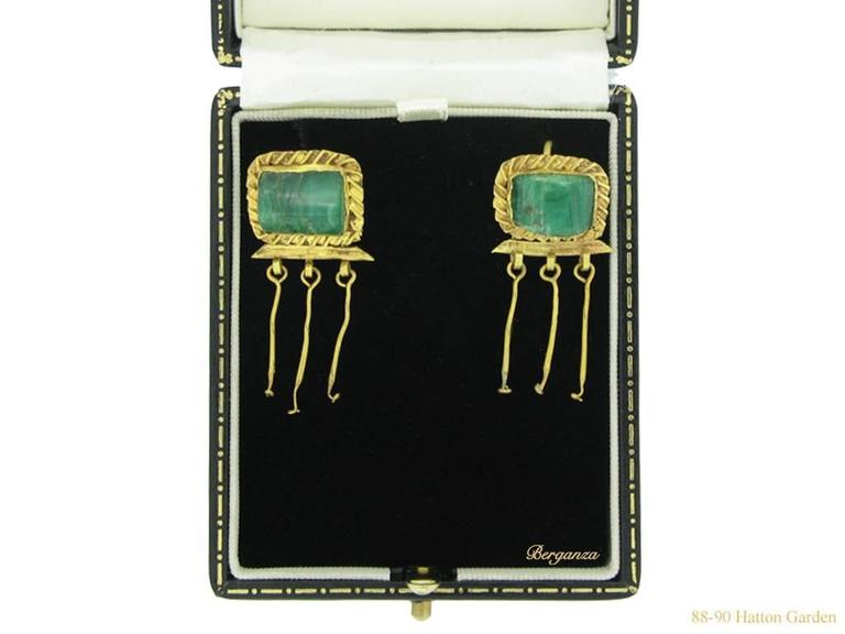 3rd-2nd Century BC Ancient Thracian Emerald Gold earrings  4