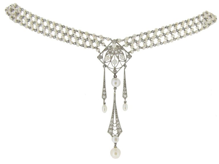 Belle Epoque Pearl Diamond Sautoir c1905 In Good Condition For Sale In London, GB