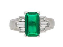 Gubelin Colombian Natural Unenhanced emerald and diamond ring, circa 1943.