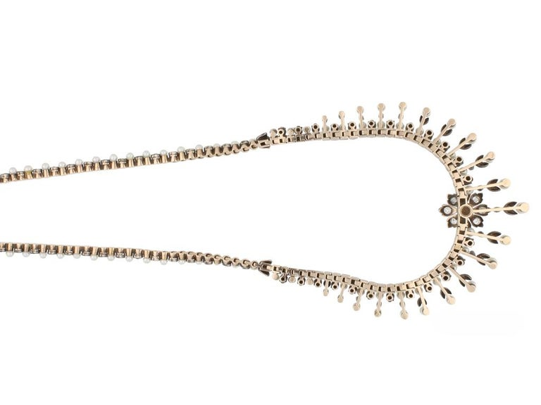 Antique Natural Pearl and Diamond Necklace, circa 1880 In Good Condition For Sale In London, GB