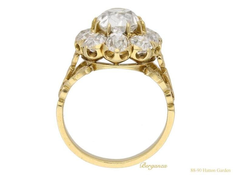 Antique Victorian old mine diamond coronet cluster ring 3