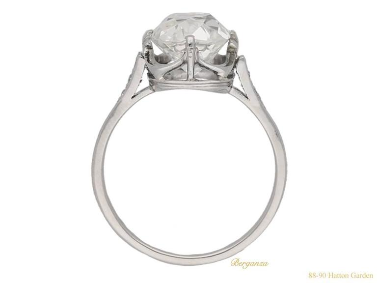 Edwardian Antique English old mine diamond solitaire ring For Sale