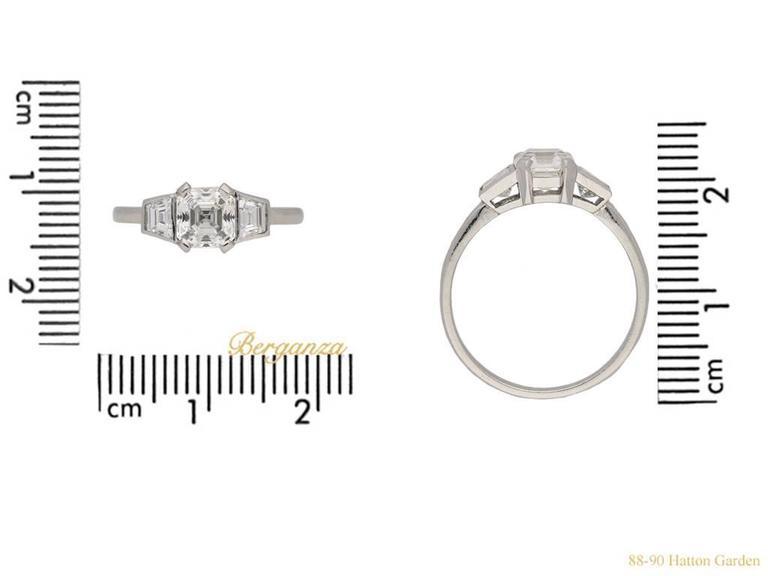 Women's or Men's Art Deco Asscher Cut Diamond Ring, circa 1935 For Sale