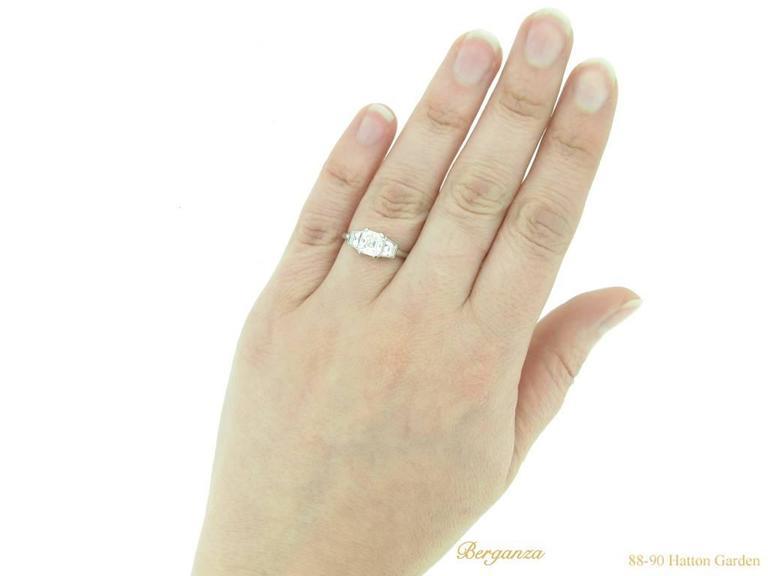 Art Deco Asscher Cut Diamond Ring, circa 1935 For Sale 1