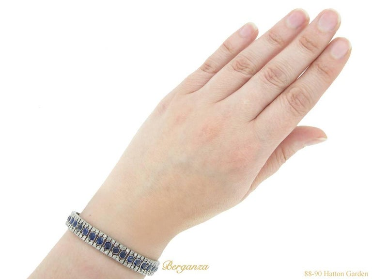 French Art Deco Sapphire and Diamond Bracelet 4