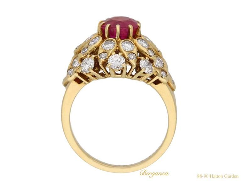 Women's Van Cleef & Arpels Natural Burmese Ruby Diamond Ring, Circa 1960 For Sale