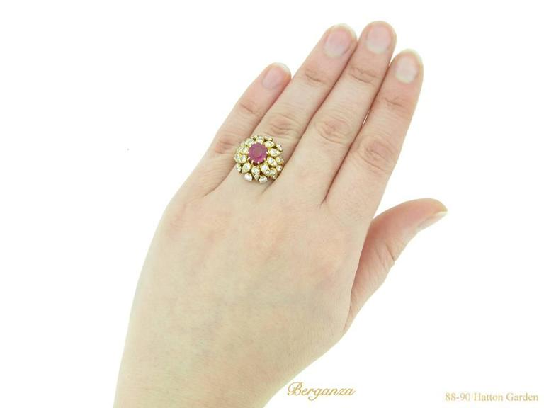 Van Cleef & Arpels Natural Burmese Ruby Diamond Ring, Circa 1960 For Sale 2