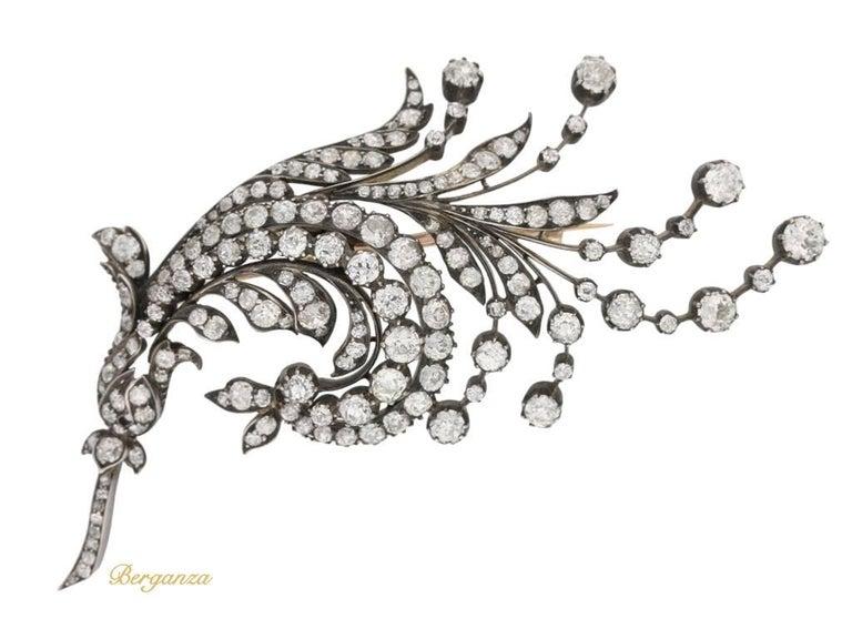 Antique diamond spray brooch, Germany, circa 1880.      2