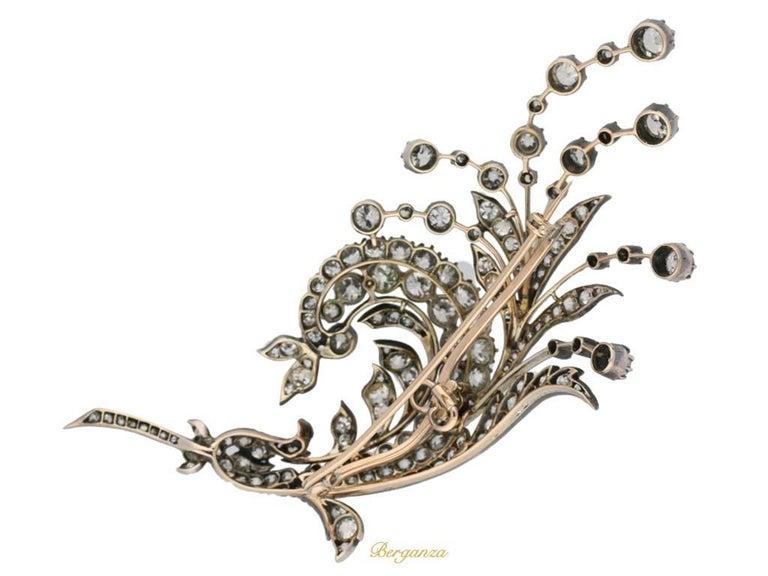 Antique diamond spray brooch, Germany, circa 1880.      3