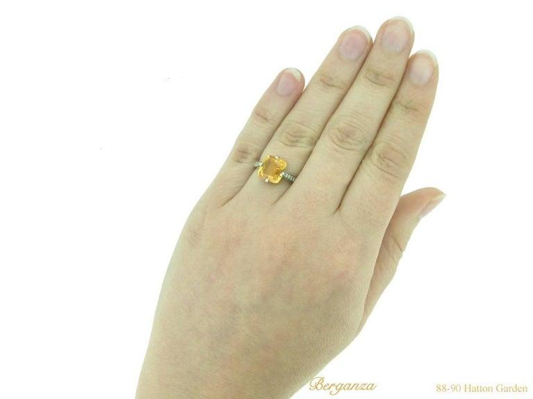Rare 4.03 Carat Orange Sapphire Diamond Ring For Sale 1