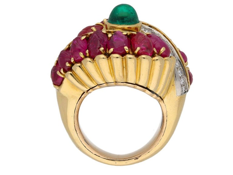 Women's Marchak Cabochon Emerald, Carved Ruby and Diamond Ring, French, circa 1950 For Sale