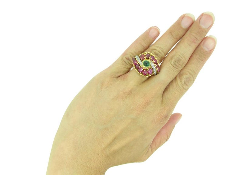 Marchak Cabochon Emerald, Carved Ruby and Diamond Ring, French, circa 1950 For Sale 2