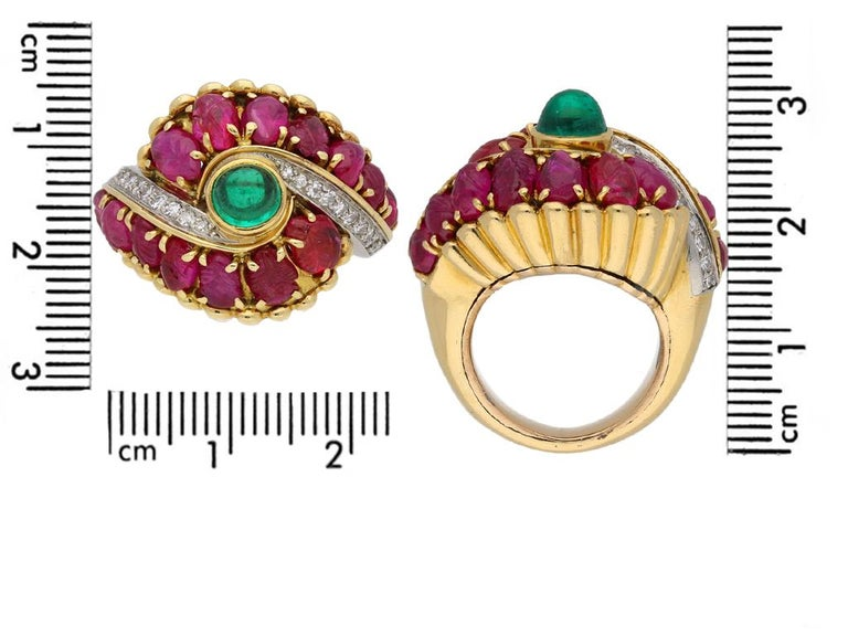 Marchak Cabochon Emerald, Carved Ruby and Diamond Ring, French, circa 1950 For Sale 1
