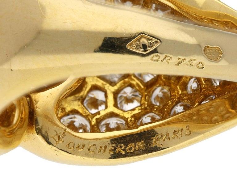 Women's Boucheron Diamond and Yellow Gold Dress Ring For Sale