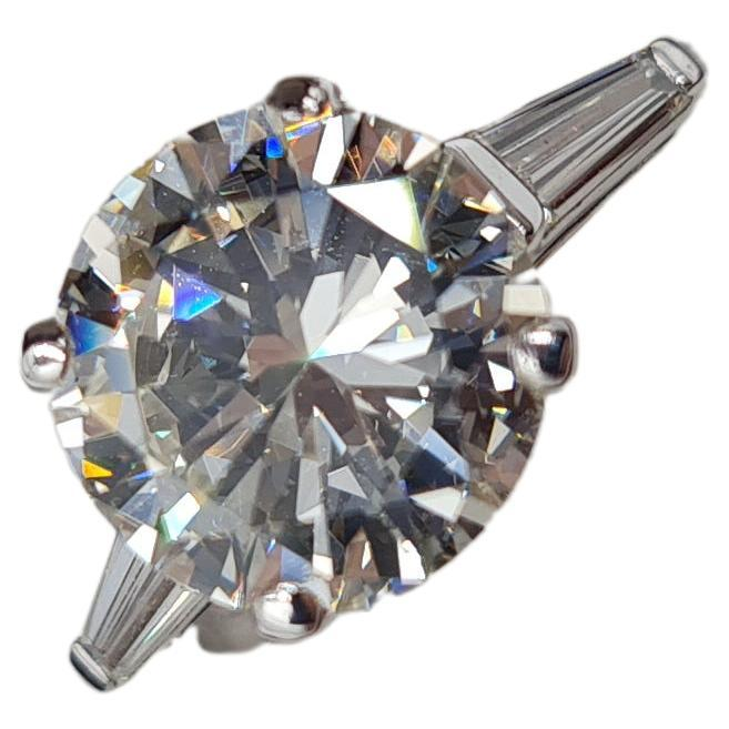 3.06 Carat Round Brilliant Cut Diamond Ring K VVS1