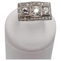 AuthentIc Art Deco Three Diamond Round Brilliant Old European Cut Vintage Ring