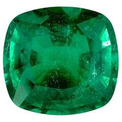 GRS SWITZERLAND 14 Carat Cushion Cut Emerald Solitaire Ring