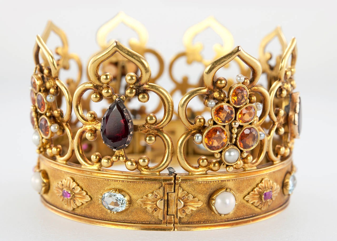 Victorian Gemstone Gold Crown Bangle Bracelet 3