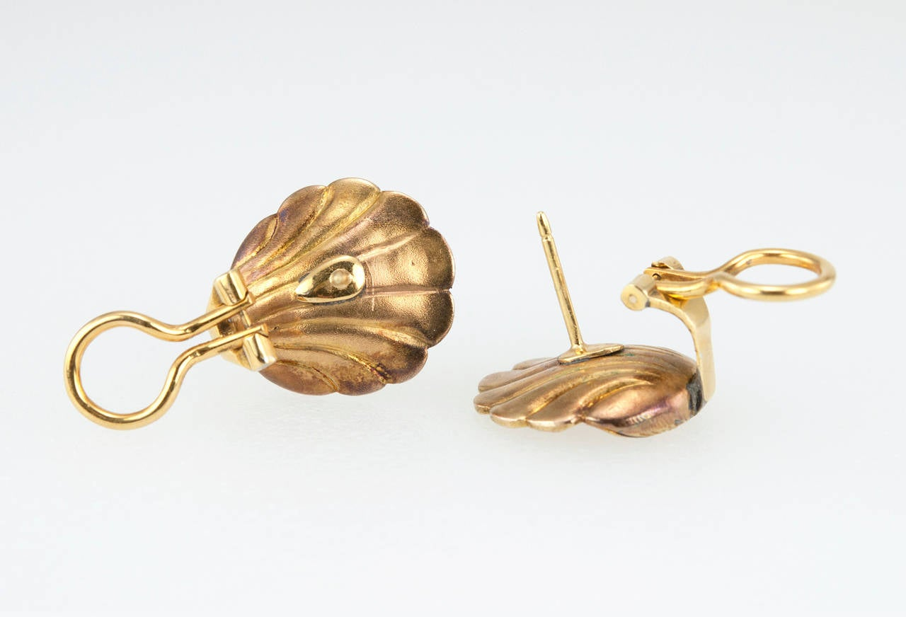 Victorian Gold Shell Earrings with Rose Cut Diamonds 8