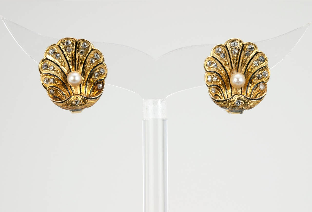 Victorian Gold Shell Earrings with Rose Cut Diamonds 5