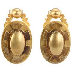 Victorian Gold Oval Earrings