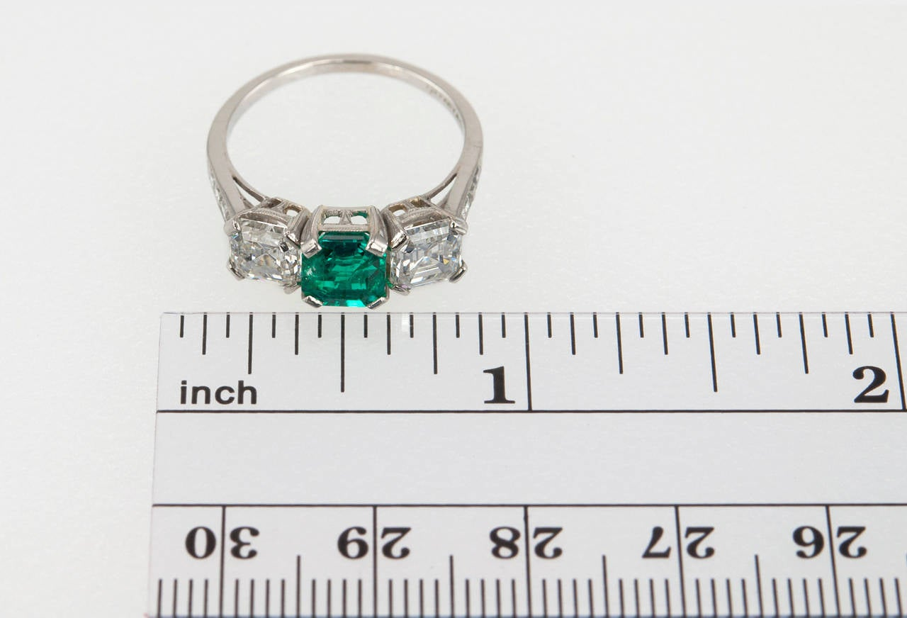Tiffany & Co. Three-Stone Emerald Diamond Platinum Ring circa 1920s 2