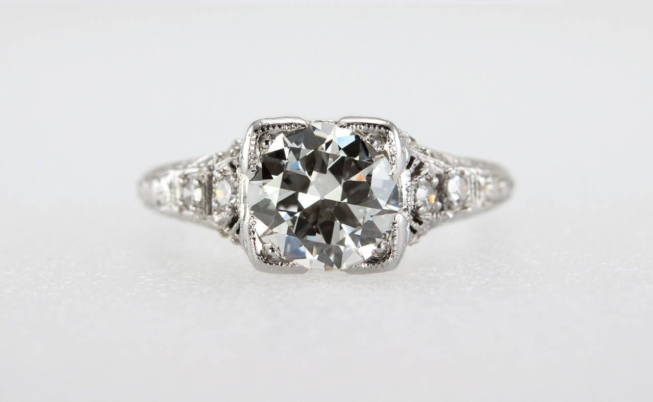 Old European Cut 1.52 Carat Edwardian Diamond Platinum Engagement Ring circa 1915 For Sale