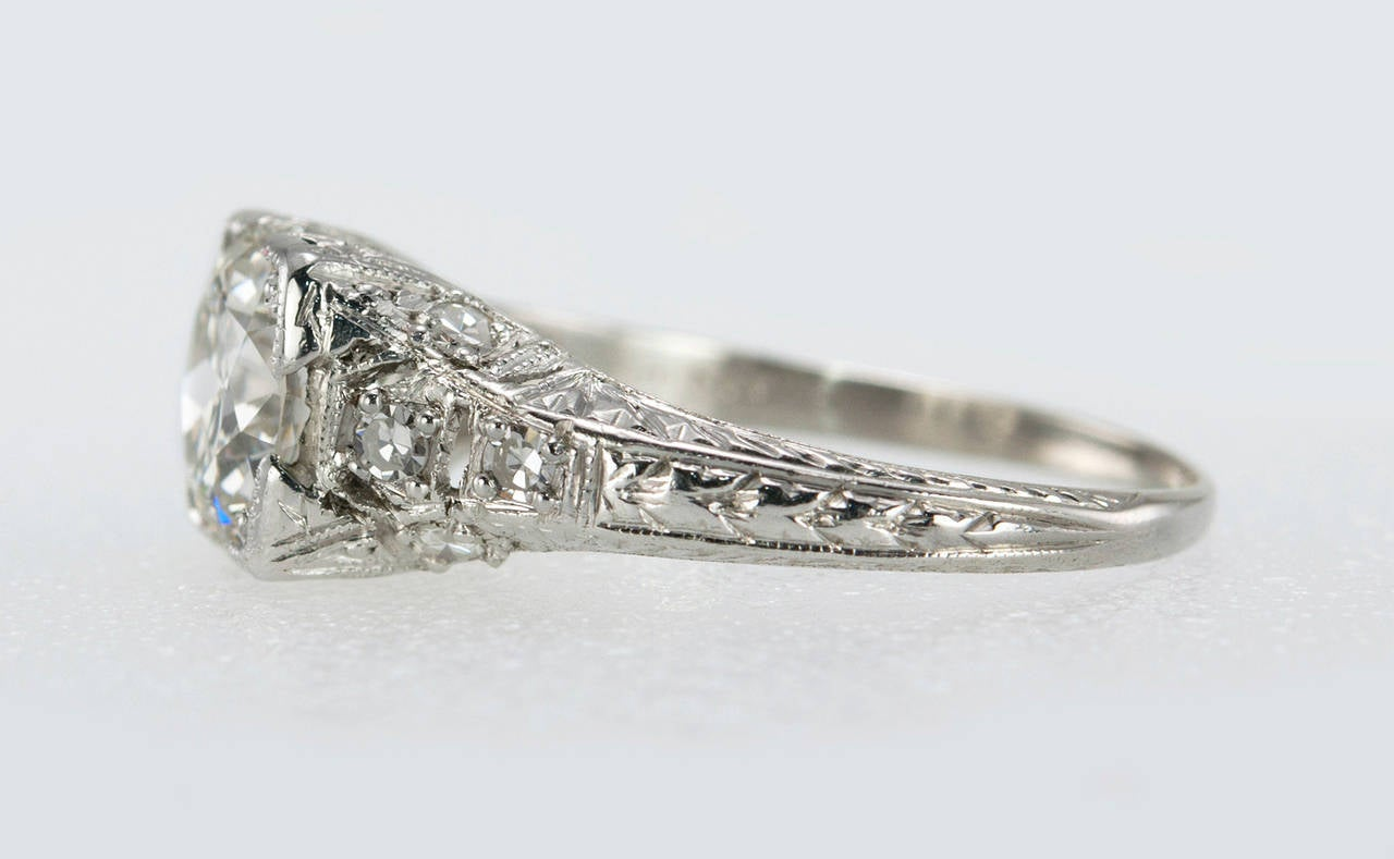 1.52 Carat Edwardian Diamond Platinum Engagement Ring circa 1915 In Excellent Condition For Sale In Los Angeles, CA