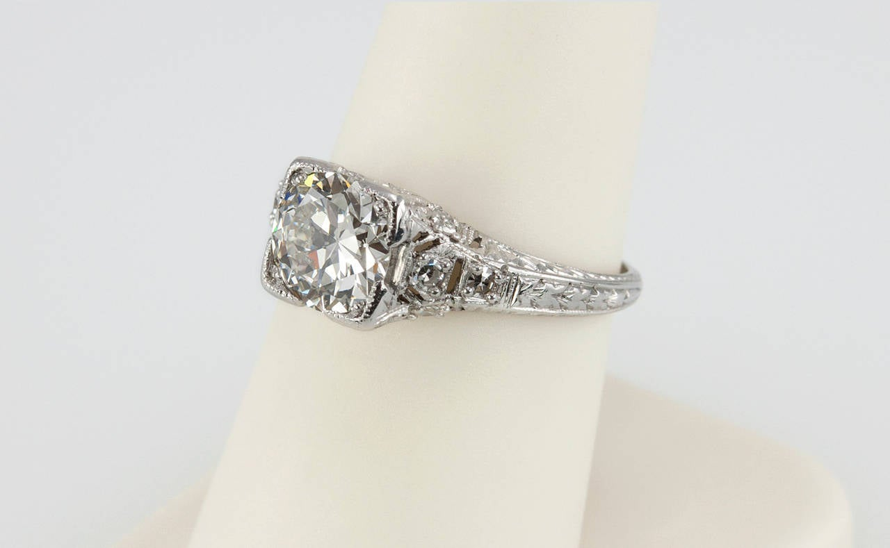 1.52 Carat Edwardian Diamond Platinum Engagement Ring circa 1915 For Sale 1