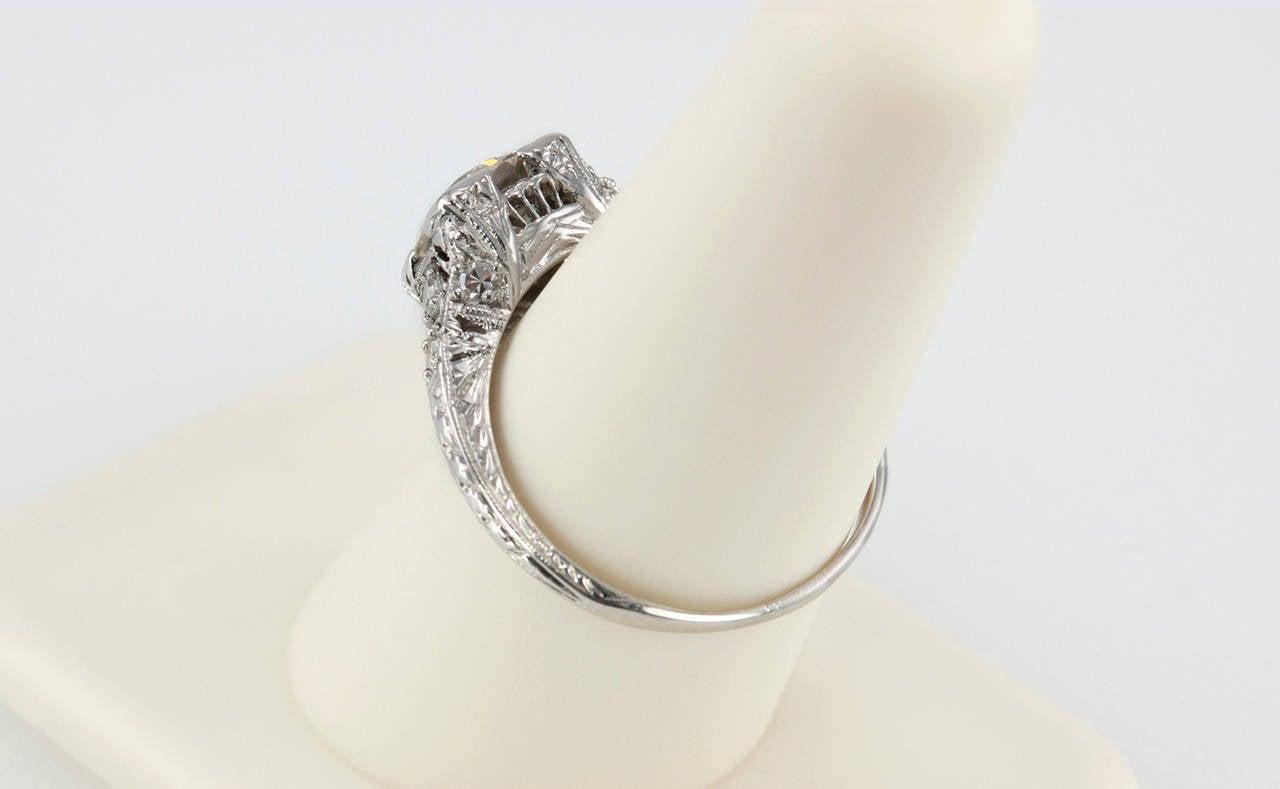 1.52 Carat Edwardian Diamond Platinum Engagement Ring circa 1915 For Sale 2