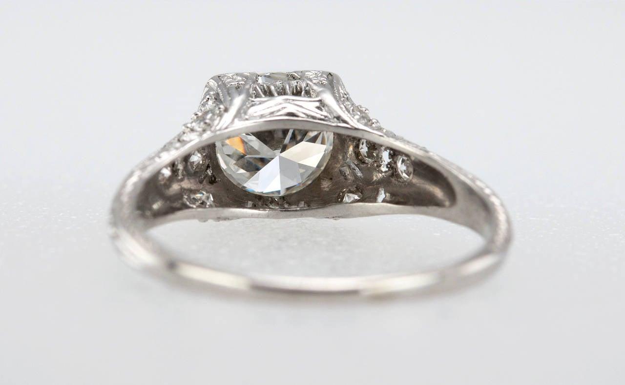 1.52 Carat Edwardian Diamond Platinum Engagement Ring circa 1915 For Sale 3