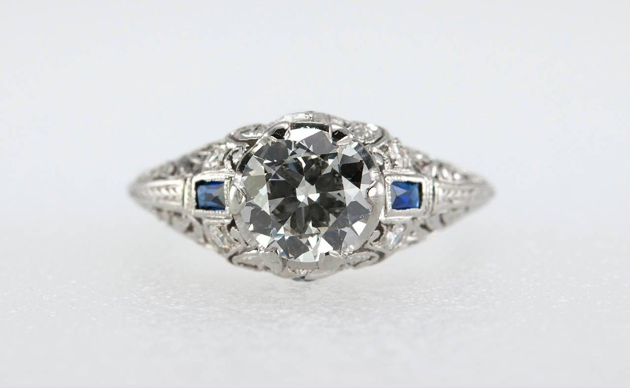 Art Deco 1.04 Carat Diamond Sapphire Platinum Ring 3