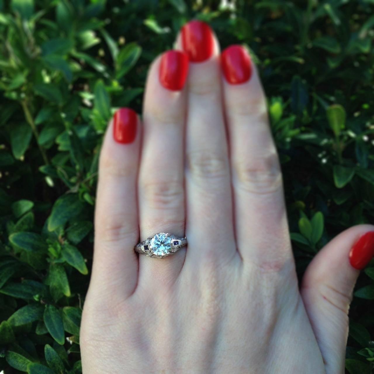 Art Deco 1.04 Carat Diamond Sapphire Platinum Ring 9