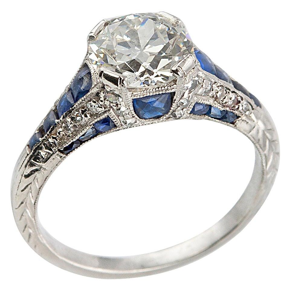 deco 1 40 carat sapphire platinum engagement