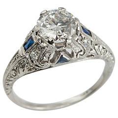 Art Deco 1.04 Carat Diamond Sapphire Platinum Ring