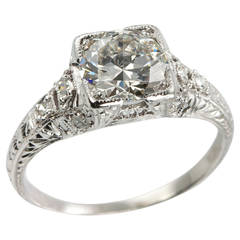 1.52 Carat Edwardian Diamond Platinum Engagement Ring circa 1915