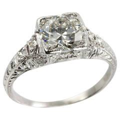 1.52 Carat Edwardian Diamond Platinum Engagement Ring circa 1915