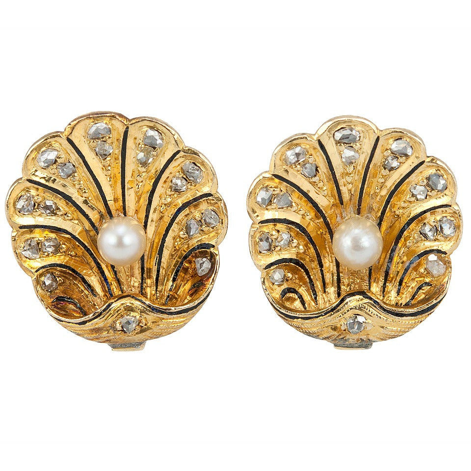 Victorian Gold Shell Earrings with Rose Cut Diamonds