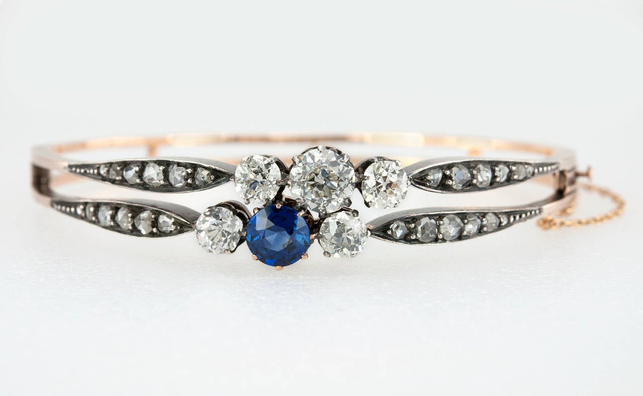 Victorian Diamond and GIA Cert Natural Sapphire Bangle Bracelet 3