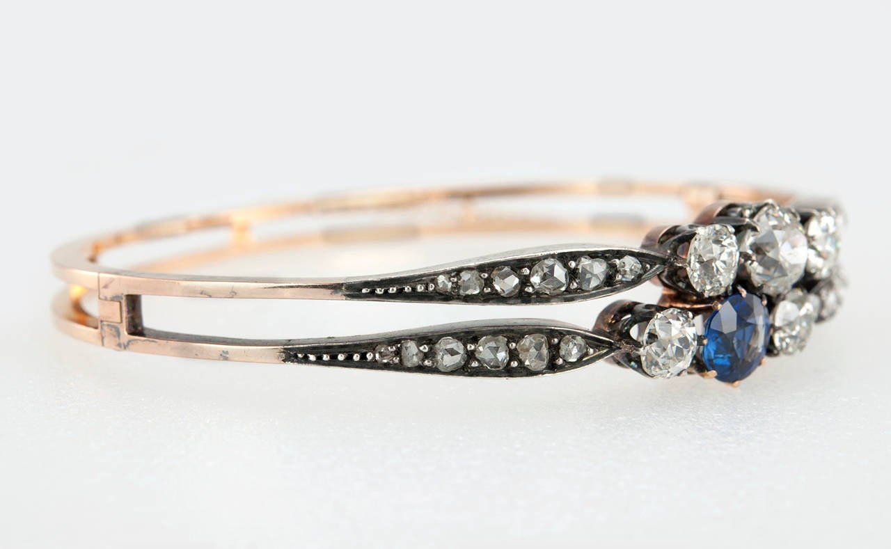 Victorian Diamond and GIA Cert Natural Sapphire Bangle Bracelet 4