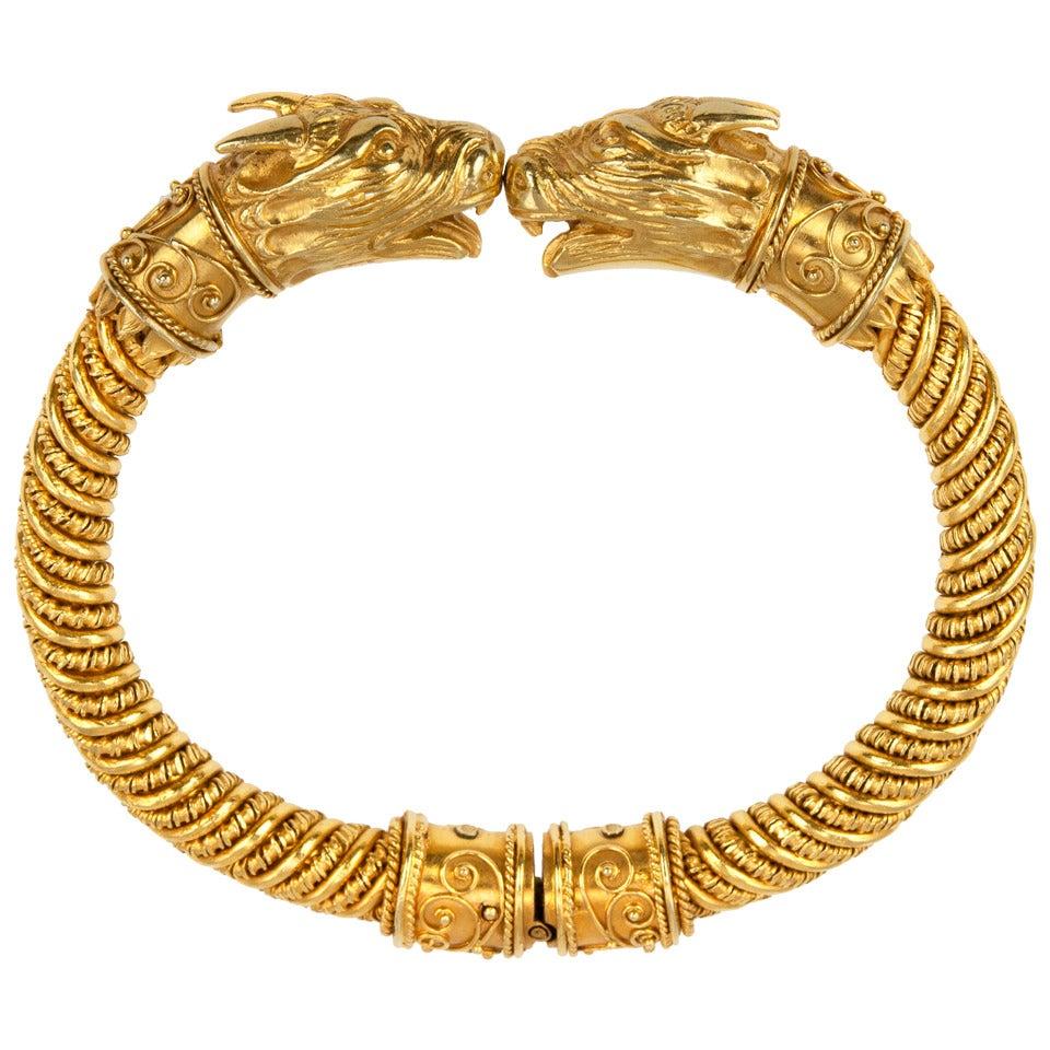 Etruscan Revival Gold Bracelet