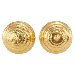 Lalaounis Gold Dome Earclips