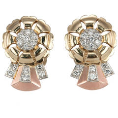 Retro Tri-Colored Diamond Gold Ribbon Earrings