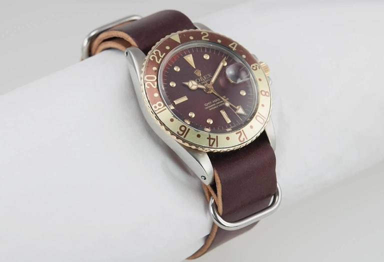 Rolex Yellow Gold Stainless Steel GMT 2-Tone Brown Dial Wristwatch Ref 1675 In Excellent Condition For Sale In Los Angeles, CA