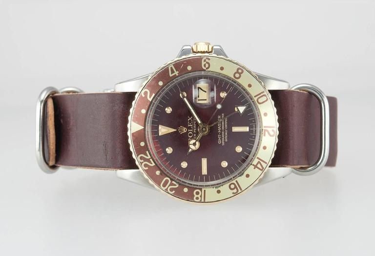 Rolex Yellow Gold Stainless Steel GMT 2-Tone Brown Dial Wristwatch Ref 1675 For Sale 1